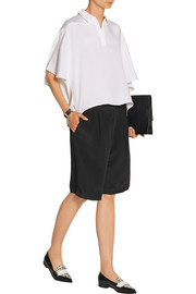 Pleated silk crepe de chine shorts
