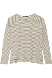 Camden striped cotton and linen-blend top