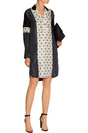 Hugh printed silk-satin shirt dress