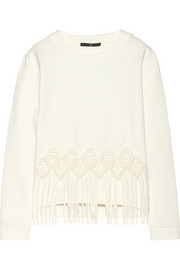 Macramé-appliquéd stretch-jersey sweatshirt