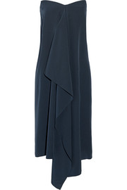 Asymmetric silk crepe de chine strapless dress