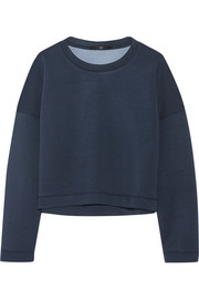 Cropped stretch-neoprene sweatshirt