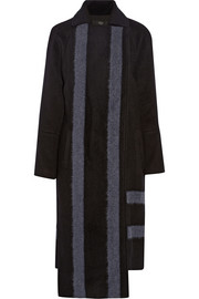 Asymmetric wool-blend coat