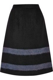 Striped wool-blend felt skirt