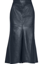 Asymmetric leather midi skirt
