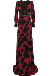 Embellished printed silk crepe de chine gown