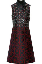 Gucci Embellished leather-trimmed jacquard dress