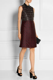 Embellished leather-trimmed jacquard dress