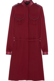 Gucci Leather-trimmed silk-crepe dress