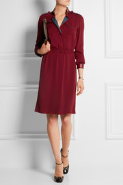 Leather-trimmed silk-crepe dress