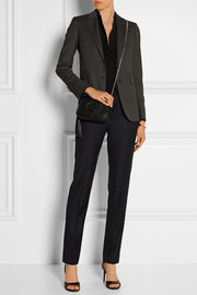Printed stretch wool-blend blazer