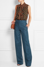Wool-flannel wide-leg pants