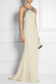 Gucci Embellished silk-cady gown