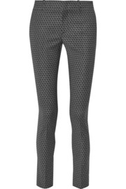 Printed wool-blend skinny pants