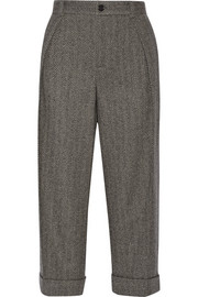 Cropped herringbone wool-blend wide-leg pants