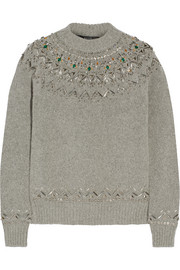 Gucci Embellished alpaca-blend sweater