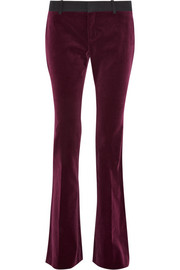 Mid-rise velvet flared pants