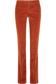 Stretch-cotton corduroy flared pants