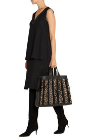 Tamara Mellon Sugar Daddy suede-trimmed leather and calf hair tote
