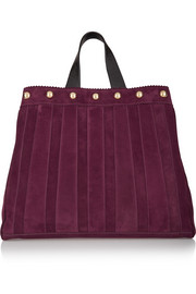 Sugar Daddy studded leather-trimmed suede tote