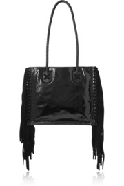 Black Rock suede-fringed patent-leather tote