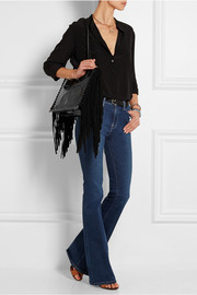 Tamara Mellon Black Rock suede-fringed patent-leather tote