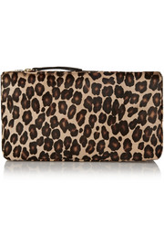 Playboy II leopard-print calf hair box clutch