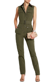Foxhound corduroy-trimmed faille jumpsuit