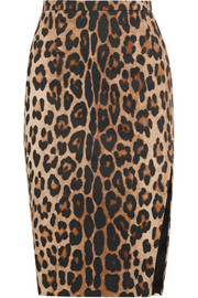 Faun leopard-print stretch-cotton pencil skirt