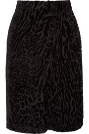 Surrey leopard devoré-chiffon pencil skirt