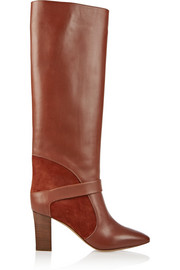 Suede-paneled leather knee boots
