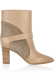 Chloé Suede-paneled leather ankle boots