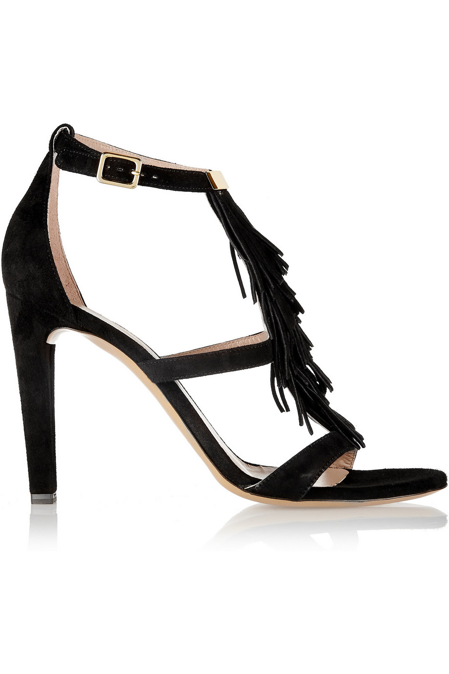 Chloé Fringed Suede Sandals, Black, Women's US Size: 3.5, Size: 34