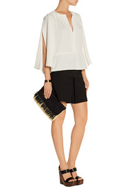 Split-sleeve crepe top