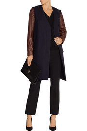 Quennel leather-paneled stretch wool-blend coat