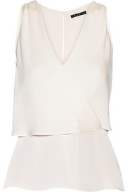Theory Alizay layered silk-georgette top