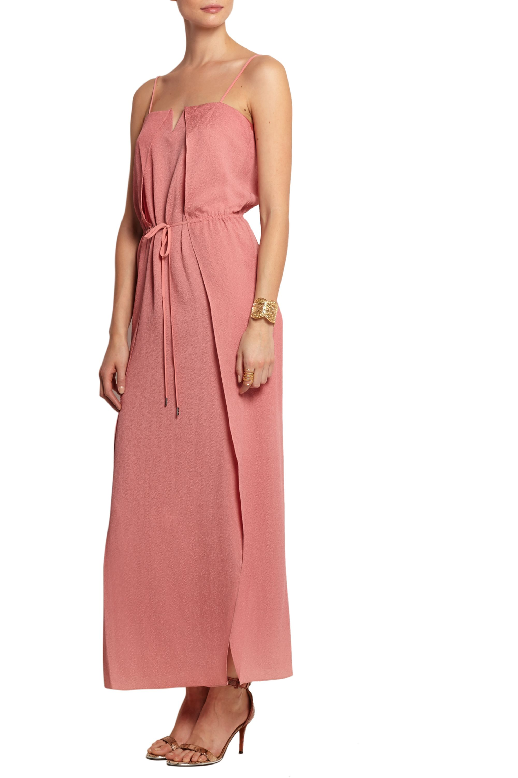 Halston Hammered-silk maxi dress