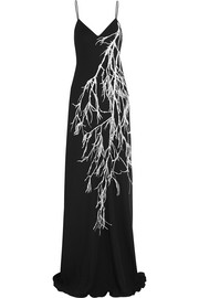 Feather-embellished printed georgette gown
