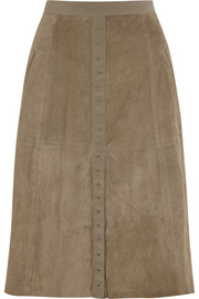Halston Heritage Suede and stretch-jersey skirt