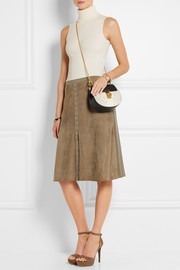 Suede and stretch-jersey skirt