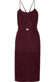 Belted suede midi dress
