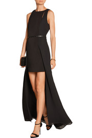 Belted chiffon and stretch-jersey gown