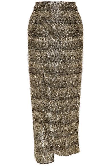 Baja East - Lurex-fringed Chiffon Wrap Skirt - Gold