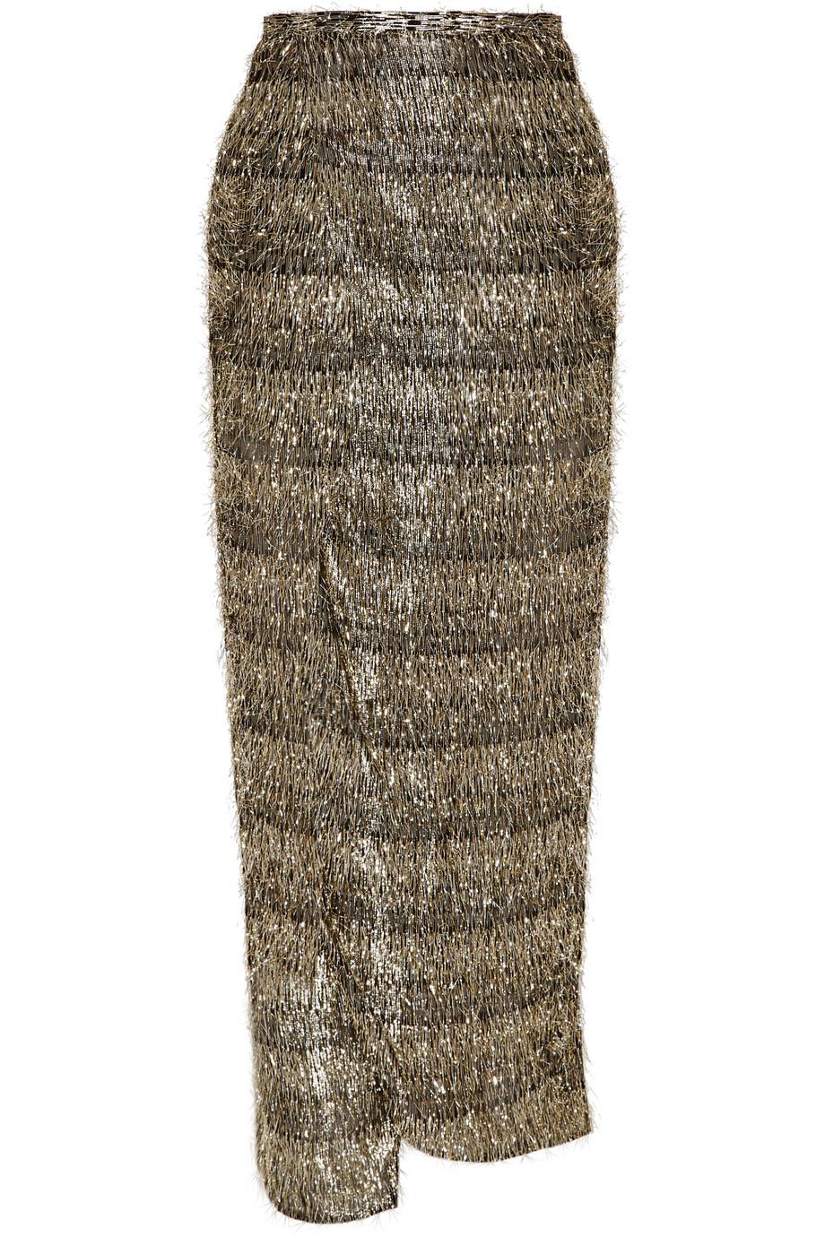 Baja East Lurex-Fringed Chiffon Wrap Skirt, Gold, Women's, Size: 1