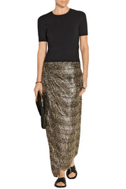 Lurex-fringed chiffon wrap skirt