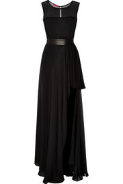 Leather-trimmed silk-chiffon gown