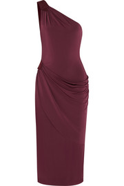 One-shoulder suede-trimmed satin-jersey dress