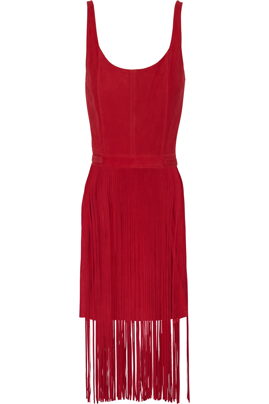 Tamara Mellon Fringed Suede Dress, Crimson, Women's, Size: 4