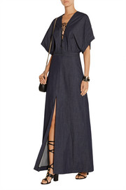 Lace-up stretch-denim maxi dress