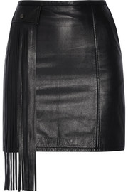 Fringed leather mini skirt